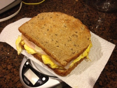 Today she was cutting it really close so I made a scrambled egg sandwich on 12 grain bread, with turkey and cheese! Good thing, too, because she had to run with half of it!