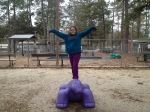 Balancing on the dino,
