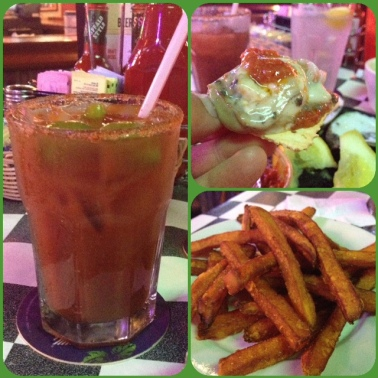 This was my meal - a virgin Bloody Mary, raw oysters and sweet potato fries!