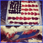 Tradition is that I make my daddy a American flag birthday cake. This year I dyed the cake red, white and blue as a surprise!