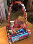 Mavis, darling!'s final basket stuffed with extra candy and a video game.